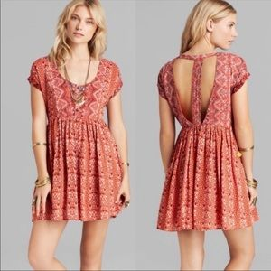Free People Tribal Sundown orange babydoll dress S